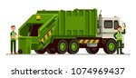 garbage truck and sanitation... | Shutterstock .eps vector #1074969437