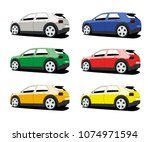 hatchback car different color... | Shutterstock .eps vector #1074971594