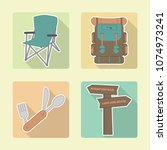 colorful set of four camping... | Shutterstock .eps vector #1074973241