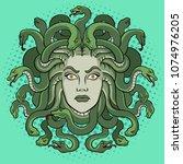 medusa head with snakes greek...   Shutterstock .eps vector #1074976205