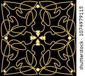 golden patterns with 3d effect...   Shutterstock .eps vector #1074979115