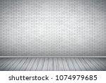 interior of white brick wall... | Shutterstock .eps vector #1074979685