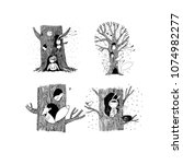 set with magic trees. fairy...   Shutterstock .eps vector #1074982277