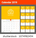 wall calendar for 2019 year.... | Shutterstock .eps vector #1074982454