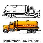 vacuum truck side view. sketch | Shutterstock .eps vector #1074983984