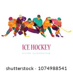ice hockey. vector illustration | Shutterstock .eps vector #1074988541
