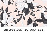 floral seamless pattern  black... | Shutterstock .eps vector #1075004351