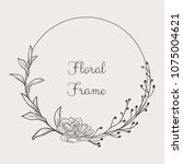 black hand drawn floristic... | Shutterstock .eps vector #1075004621