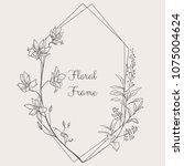 black hand drawn floristic... | Shutterstock .eps vector #1075004624