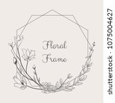 black hand drawn floristic... | Shutterstock .eps vector #1075004627