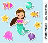 mermaid stickers set. fairy... | Shutterstock .eps vector #1075005989