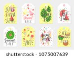 summer set of sale and gift... | Shutterstock .eps vector #1075007639
