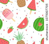summer seamless pattern with... | Shutterstock .eps vector #1075007705
