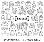 vector set with hand drawn... | Shutterstock .eps vector #1075015319