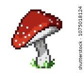 the amanita mushroom. pixel art.... | Shutterstock .eps vector #1075018124