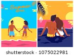 Summer Posters Set With Couple...