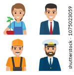 people vector icons set.... | Shutterstock .eps vector #1075023059