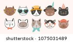 collection of cute funny cat... | Shutterstock .eps vector #1075031489