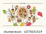 horizontal banner with hands... | Shutterstock .eps vector #1075031519