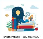 small people learn and gain... | Shutterstock .eps vector #1075034027