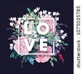 vector square botanical frame... | Shutterstock .eps vector #1075035785
