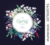 vector round botanical frame... | Shutterstock .eps vector #1075035791