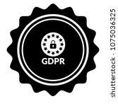 vintage emblem medal with gdpr... | Shutterstock .eps vector #1075036325