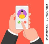 incoming call on smartphone... | Shutterstock .eps vector #1075037885