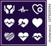 set of 9 heart filled icons... | Shutterstock .eps vector #1075039394