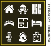 set of 9 buildings filled icons ... | Shutterstock .eps vector #1075046585