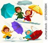 children walking under raining... | Shutterstock .eps vector #1075050884