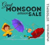 children walking under raining... | Shutterstock .eps vector #1075050911