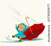 children walking under raining... | Shutterstock .eps vector #1075050977