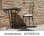 Wrought Iron Chair And Table O...