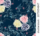 trendy floral background with... | Shutterstock .eps vector #1075054847