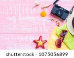 beach accessories including... | Shutterstock . vector #1075056899