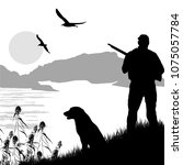 silhouette of a hunter with dog ...   Shutterstock .eps vector #1075057784