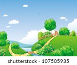 rural summer landscape with... | Shutterstock .eps vector #107505935