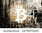 bitcoin on abstract background...   Shutterstock . vector #1075070165