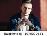 handsome sexy man portrait on...   Shutterstock . vector #1075070681