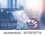 artificial intelligence ai  big ... | Shutterstock . vector #1075070774