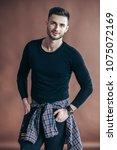 stylish handsome man portrait...   Shutterstock . vector #1075072169
