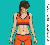 woman with amazing abs  toned... | Shutterstock .eps vector #1075072259