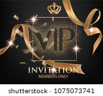 vip invitation card with gold... | Shutterstock .eps vector #1075073741