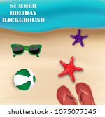 summer holiday background. top... | Shutterstock .eps vector #1075077545