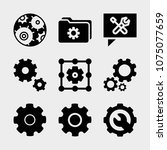 set of 9 settings filled icons... | Shutterstock .eps vector #1075077659