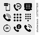 set of 9 telephone filled icons ... | Shutterstock .eps vector #1075077839