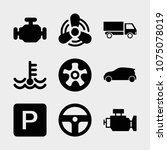 set of 9 car filled icons such... | Shutterstock .eps vector #1075078019