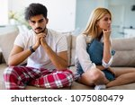 young couple having problems in ... | Shutterstock . vector #1075080479