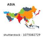 best asia outline world map | Shutterstock .eps vector #1075082729